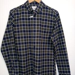 Slim Fit Stretch Poplin Blue Plaid L/S B/D Shirt